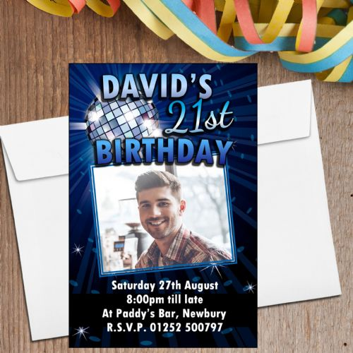 10 Personalised Blue Disco Glitz Birthday Party PHOTO Invitations N210